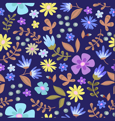 floral seamless pattern cute retro flowers wreath vector image