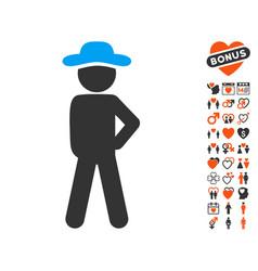 gentleman audacity icon with love bonus vector image vector image