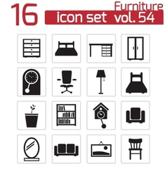 black furniture icons set vector image