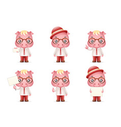 cute swine pig businessman man 3d realistic vector image vector image