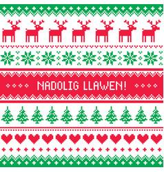 nadolig llawen - merry christmas in welsh greeting vector image vector image