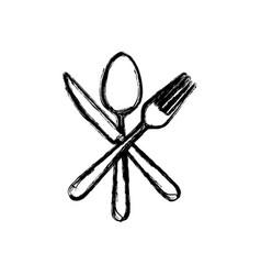 sticker white cutlery icon vector image vector image