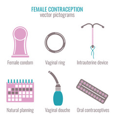 woman contraception icons vector image