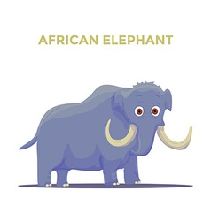 Cartoon african elephant on white background vector
