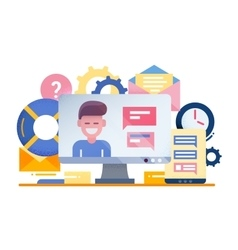 Customer Support - flat design vector image vector image