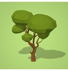 Low poly green tree vector image vector image