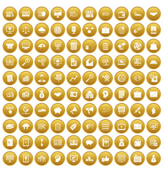100 business process icons set gold vector image