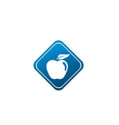 apple with green leaf logo design in shape vector image