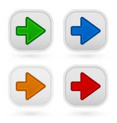 Arrow buttons in 4 colors vector