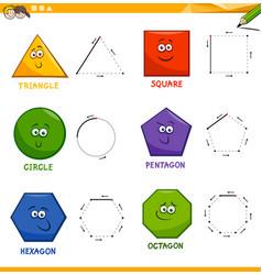 Basic geometric shapes drawing workbook vector