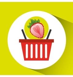 Basket market sweet strawberry icon design vector
