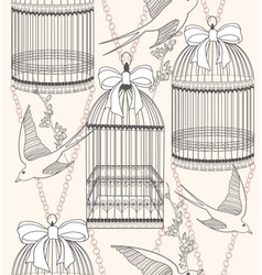 birdcage flowers and birds vector image