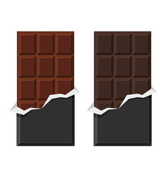 Black and milk chocolate bar set on white vector