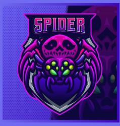 Black widow spider skull mascot esport logo vector