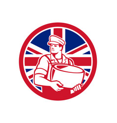 British artisan cheese maker union jack flag icon vector