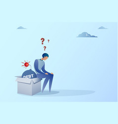 Business man sitting on bomb credit debt finance vector