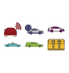 car icon set color outline style vector image