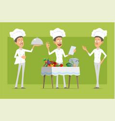 cartoon flat chef cook man character set vector image