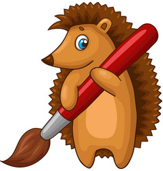 Cartoon hedgehog character with big brush vector