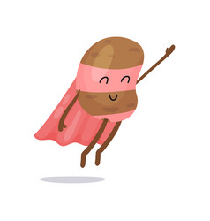 Cartoon potato superhero flat character with pink vector