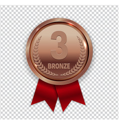 champion art bronze medal with red ribbon icon vector image