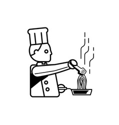 chef cooking spaghetti outline vector image