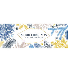 Christmas banner design in color frame with hand vector