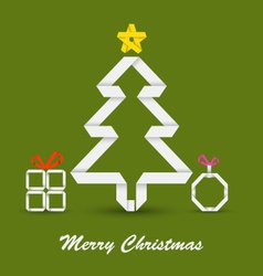 Christmas card with folded paper Christmas tree vector image