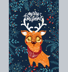 Christmas poster with deer vector