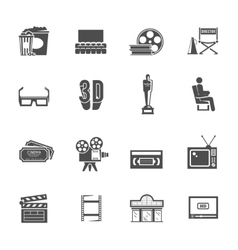 Cinema retro black icons set vector
