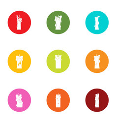 Clear light icons set flat style vector