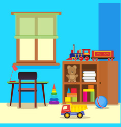 Colorful and pretty child room with a desk and vector