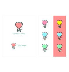 Colorful hot air balloon gift logo or icon vector