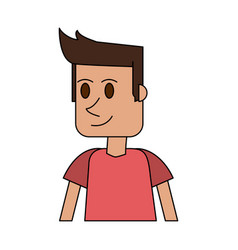 Colorful image cartoon closeup half body guy with vector