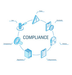 compliance isometric concept connected line 3d vector image