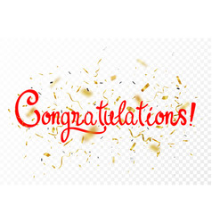 congratulations sign letters banner with gold vector image