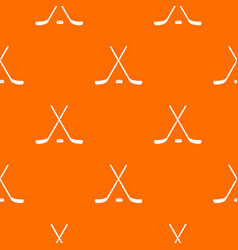 Crossed hockey sticks and puck pattern seamless vector