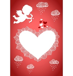 Cupid valentine poster or postcard vector