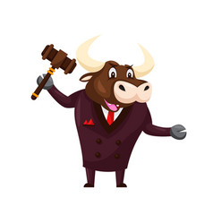 Cute auction buffalo cartoon character vector