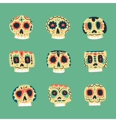 Cute ethnic mexican skulls icons vector