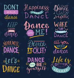Dance lettering dancing sign and dancer vector
