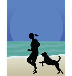 Dog on beach vector