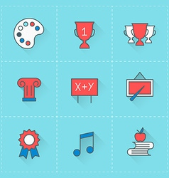 Education icons icon set in flat design style For vector image