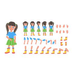 Flat of kid girl cartoon vector