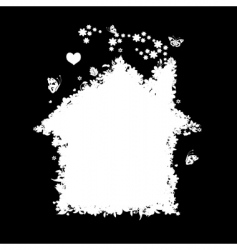 floral house silhouette vector image