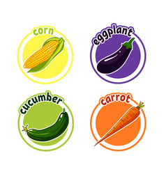 four stickers with different vegetables corn vector image