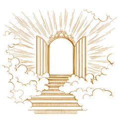 Gates paradise entrance to heavenly city vector