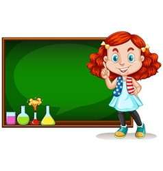 Girl standing by the blackboard vector image