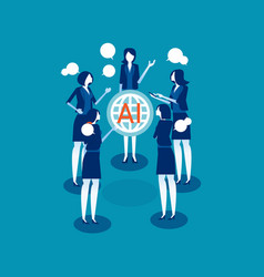 global people talking about ai technology concept vector image