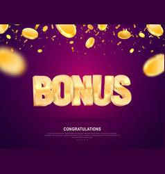 Golden shine bonus word banner for gambling vector